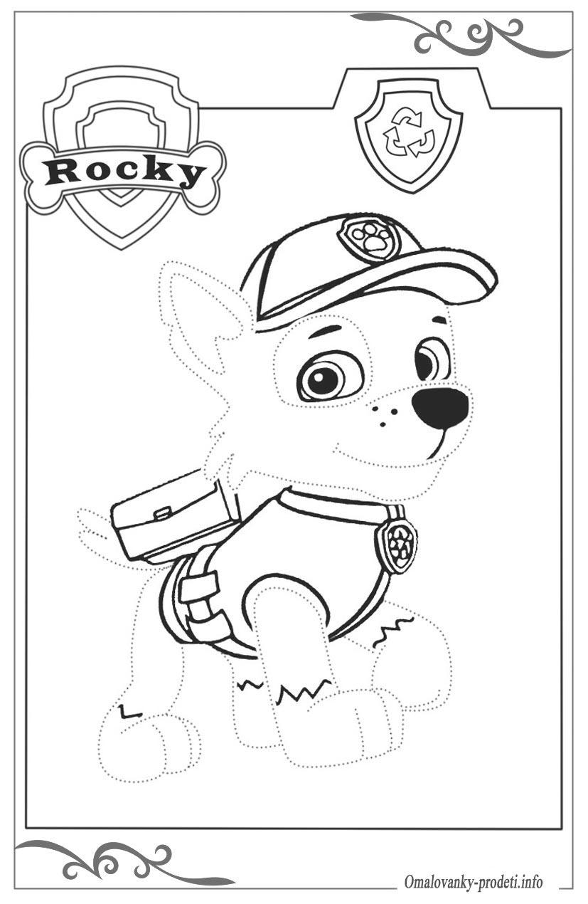 Раскраска щенячий патруль по точкам